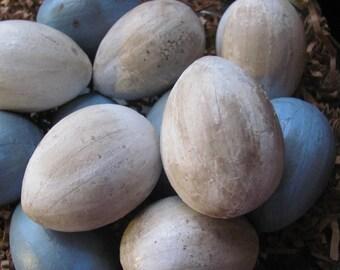 Blue and White  Easter Eggs -  Paper Mache - One Dozen