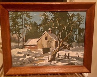 Awesome 1950'S Kitsch Mid Century Era Paint By Numbers Snow Log Cabin Scene