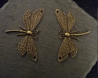 2 Antique Bronze Tone Dragonfly Connector Charms or Pendants