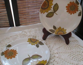 Alfred Meakin Sunflower Design Retro Vintage Side Plates Set of Two (1960s)