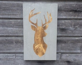 Deer head / Wood sign / Wall hanging / Wall decor / Graphite Black / Deer / Stag head / 48cm x 28cm / Decor
