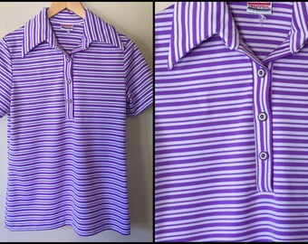 1970's Purple/White Striped Polyester Polo Shirt