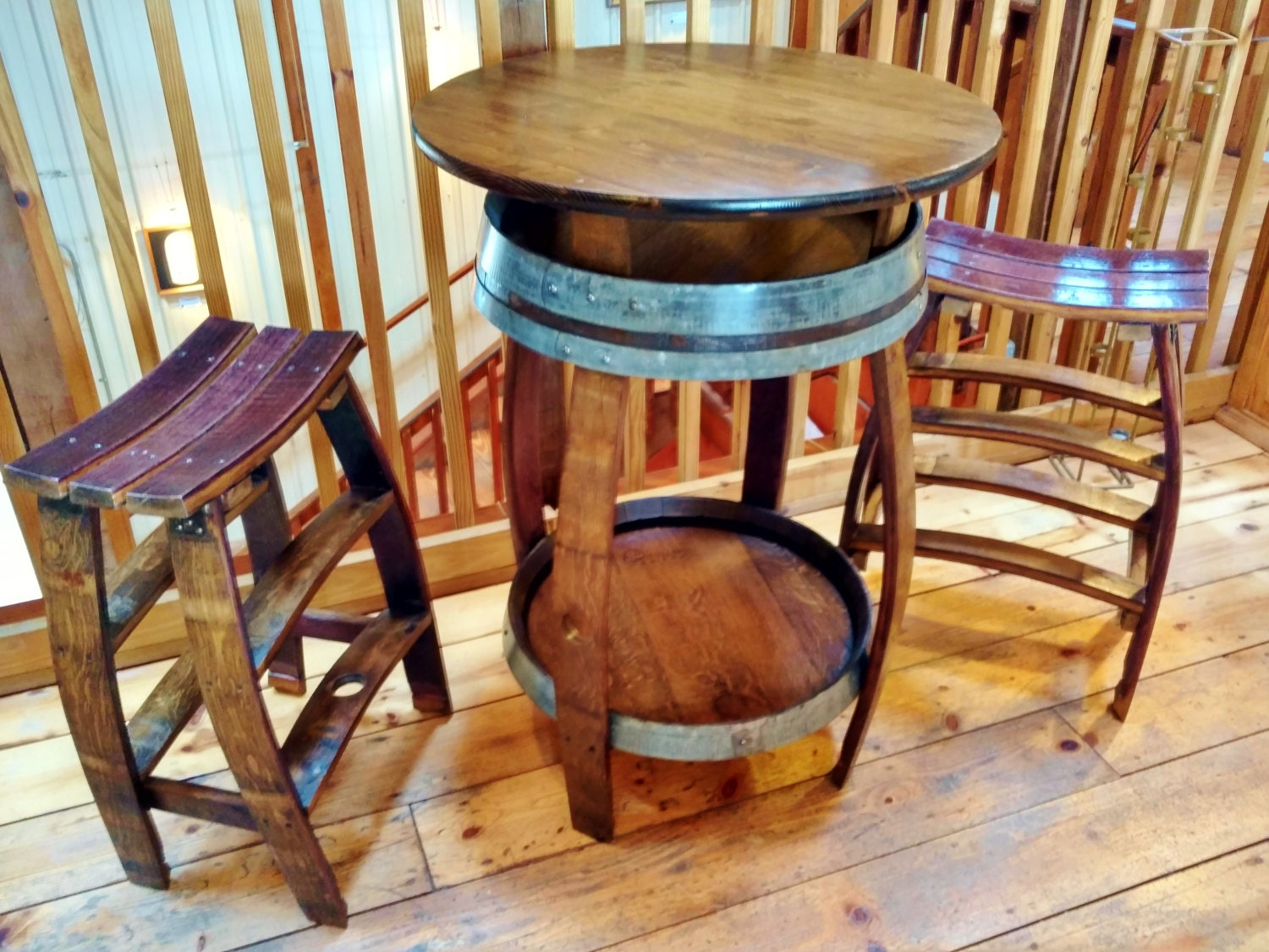 Wine barrel pub table handcrafted from a red wine barrel for 1 2 wine barrel table