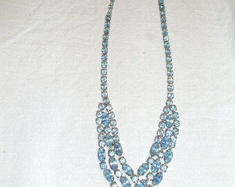Vintage Icy Blue Rhinestone Necklace 1950's? or earlier, V shape design