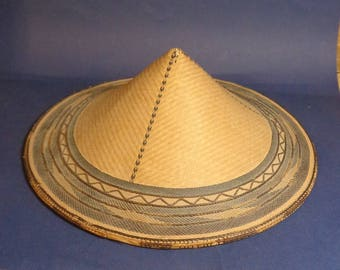 Japanese Antique Rickshaw Hat, Vintage Coolie Cone Hat, Antique Chinese Straw Hat Asian Style Pointy Straw Wide Brim Hat