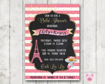 Paris Baby Shower Invitation, French Invitation, London France Invitation, Baby Shower, Bridal Shower, Eiffel Tower Invitation, Macaroons