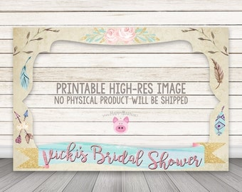 PRINTABLE Boho Chic Photo Booth Frame, Bridal Shower Photo Booth Frame, Wedding Photo Booth Frame, Birthday, Feathers, Arrows, Baby Shower