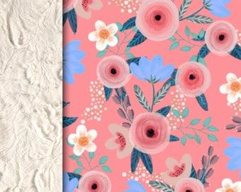 Baby minky blanket flower blanket, pink flowers roses blanket, floral blanket throw blanket, baby shower gift birth gift, mini peony