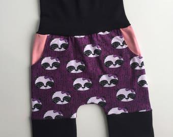 grow with me shorts, panda shorts, purple panda shorts