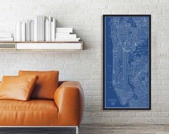 Manhattan Blueprint, Map Manhattan, NYC Map, New York City Map, Large New York City Map, Central Park Map, New York, Panoramic Map, 104
