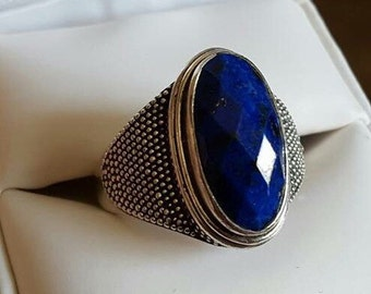 Vintage Sterling Silver Lapis Ring Size 10