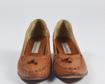 1960's Vintage Loafer Wooden Stacked Heels by Hippopotamus/Size 8