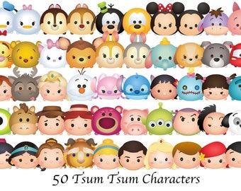 TSUM TSUM CLIPART. 50 High Resolution Clipart. Disney Tsum Tsum Birthday Party. Baby shower.