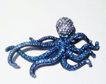 VTG Fine Figural Aqua to Blue Clear Glass Rhinestone Crystals Octopus Pin Brooch