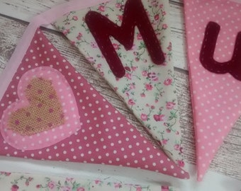 Mothers Day gift, Mum gift, gift for Mum, gift for Mothers Day, birthday gift, shabby chic bunting, floral bunting, wall hanging, decoration