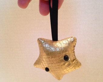 faux leather star ornament, Kawaii star ornament, gold star gift topper, kawaii gold star ornament, lucky star ornament, kawaii star plushie