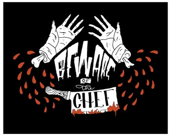 Beware of the chef! PRINTABLE wall art. Bloody hands download poster