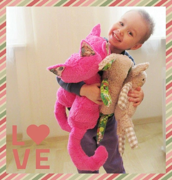For Valentine S Day Cat Toys : Valentine pink plush toy cat and lamb sewing pattern stuffed