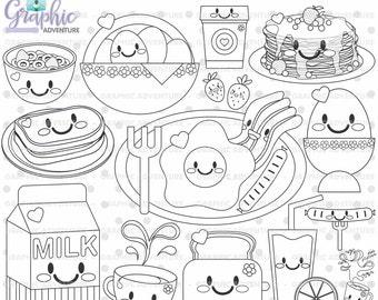 75off breakfast stamp commercial use digi stamp digital image - Breakfast Coloring Pages