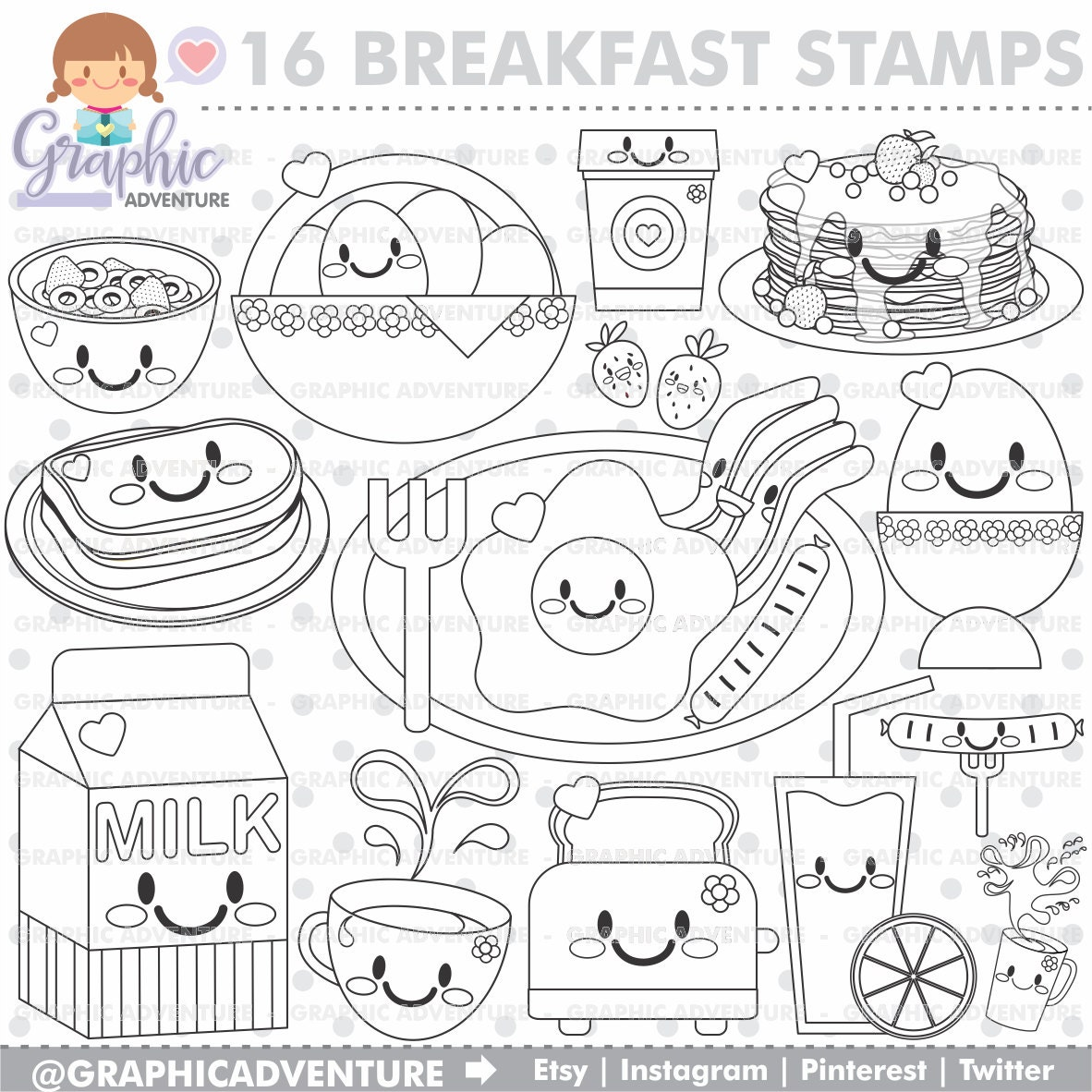 75 off breakfast stamp commercial use digi stamp for Breakfast coloring page