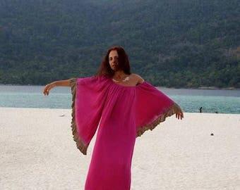 Caftan, Kimono Maxi Dress, Beach Cover Up, One Size, Pink Fucsia, Boho Kimono, Butterfly Slevees, Hippie, Gipsy, Ibiza Maxi Dress, Festival