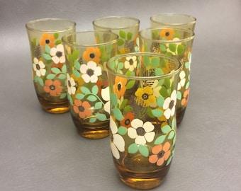 Vintage Triguba Anchor Hocking Drinking Glasses Set of (6)