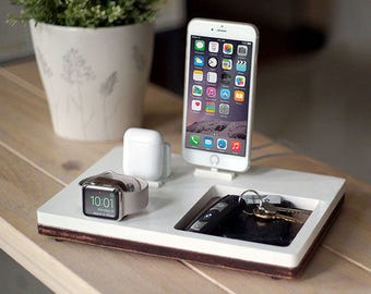 NytStnd AIRPODS TRIO 3 White - FREE Shipping Dock Charging Station Wireless for iPhone 8 AirPods Apple Watch Birthday Gift Present
