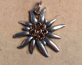 Necklace pendant Edelweiss brown