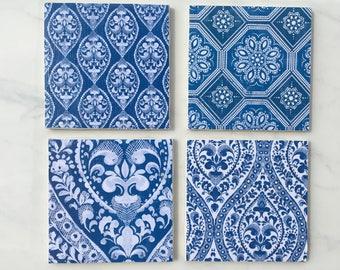 Coasters, Floral Coasters, Blue and White, Decorative Coasters, Set of 4 Coasters, Tile Coasters, Blue Coasters, Ceramic Coasters