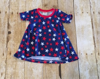 4th of july dress // patriotic dress // baby dress // toddler dress // tshirt dress // stars and stipes dress // red white and blue dressi