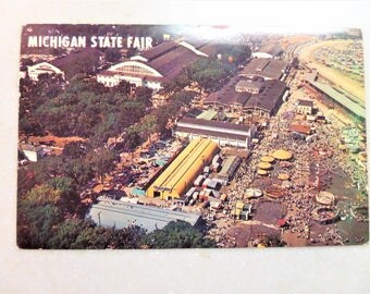 Vintage Postcard Aerial View of Michigan State Fair