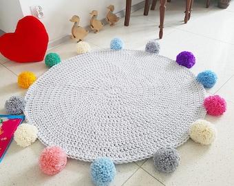 Play mat Pom pom round rainbow rug, mat bohemian crochet vintage colorful bebe carpet teppich hippie houseware tapis enfant kids rugs