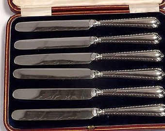 Set Of 6 ANTIQUE SILVER Hallmarked CUTLERY Set In Case 1910
