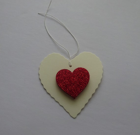 Luxury Handmade Gift Tags - Cream Heart Tag with Sparkly Heart - 2E