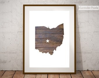 Printable art Map print Rustic home decor United States map Farmhouse decor Wood wall art US map poster Ohio state map Husband Gift for dad