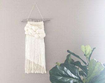 Mini woven wall hanging // MADE TO ORDER / Wall Hanging / Cream White Neutral / Nursery Art / Home Decor / Boho / Wall Art