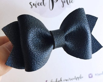 Navy Blue Metallic Faux Leather Hair Bow // Nylon One Size Headband Hair Clip // Large Girls Mini Newborn Baby Toddler Hair Bow