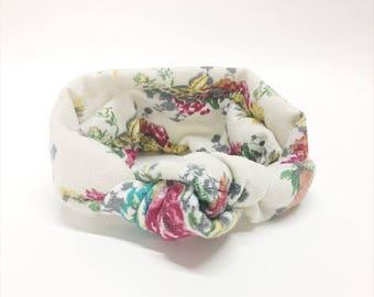 Cream Floral Turban Headwrap