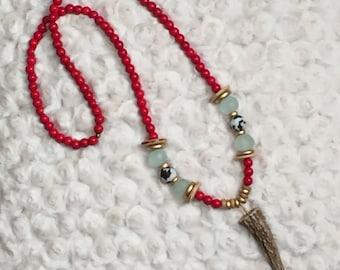 Deer antler necklace, beaded necklace, boho necklace