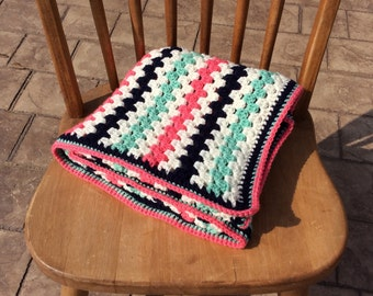 Coral, Navy, Mint and Cream Granny Stripe Crocheted Baby Blanket-Girl Baby Shower Gift