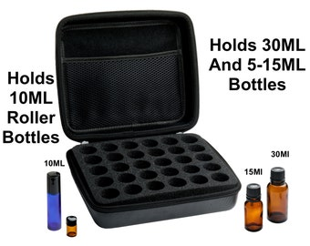 Essential Oil Carrying Case (30 Bottle) Holds 5-10-15-30ML & 10Ml Rollon Bottles - Comes W/ 384 Essential Oil Bottle Sticker Labels