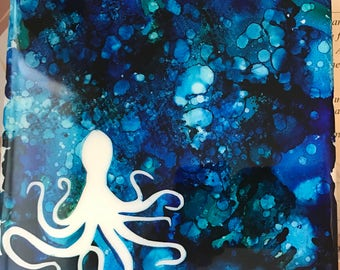 Octopus silhouette on ceramic tile alcohol ink decor housewarming sea beach ocean wildlife