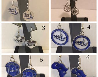 Zeta Phi Beta Earrings 6 Pair To Choose From
