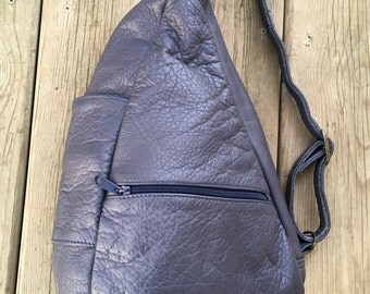 Vintage Gray Leather Backpack Purse