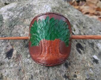 Tooled Leather Tree Barrette