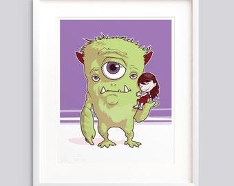 "Art Print - ""A Girl and Her Monster"" v2 Poster, kids room wall art giclée print illustration"
