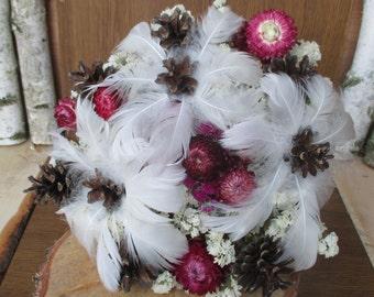 Dried flowers,rustic wedding,pine cones bouquet,dried flower wedding bouquet,white feather bouquet,bridal bouquet,winter wedding bouquet