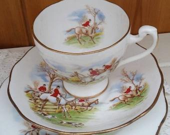 Vintage Horse and Hounds scene bone china trio/hunt scene teaset/1950 retro hunting scene English china/kitch trio/ships worldwide from UK