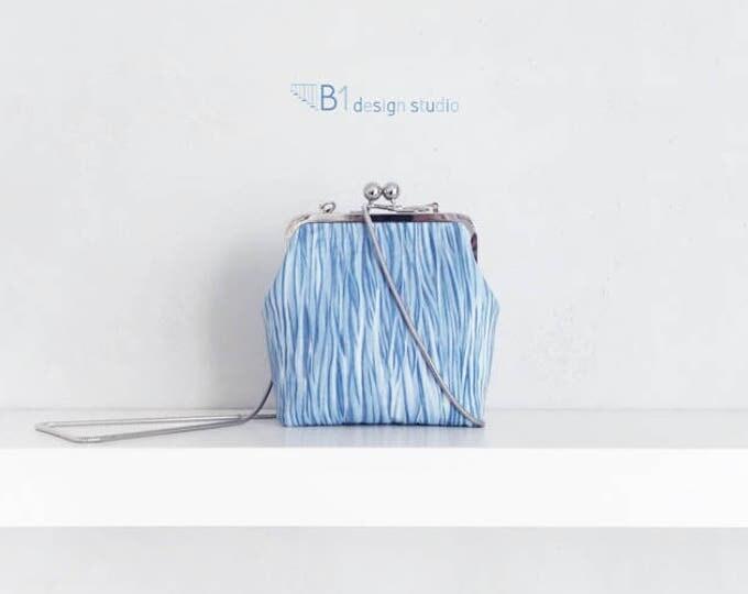 Cotton Crossbody Bag, Tie-dyed Shoulder Bag, Blue Clasp Bag, Crossbody Purse, Shoulder Clasp Bag, Gift for Her, Handmade Shoulder Bag