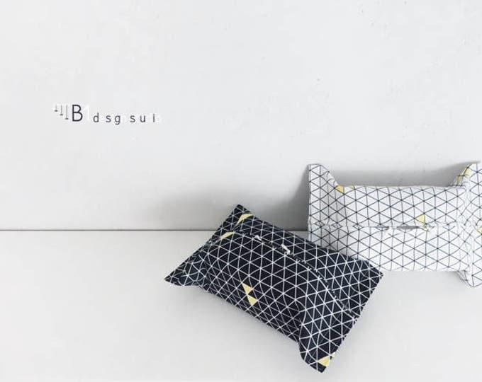Canvas Tissue Box Cover, Black and White Tissue Bag, Tissue Box Holder, Kleenex Box Cover, Bathroom Decor, Home Decor, Housewarming Gift